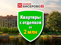 ЖК «Новое Бисерово 2» Квартиры с отделкой от 2 млн рублей.